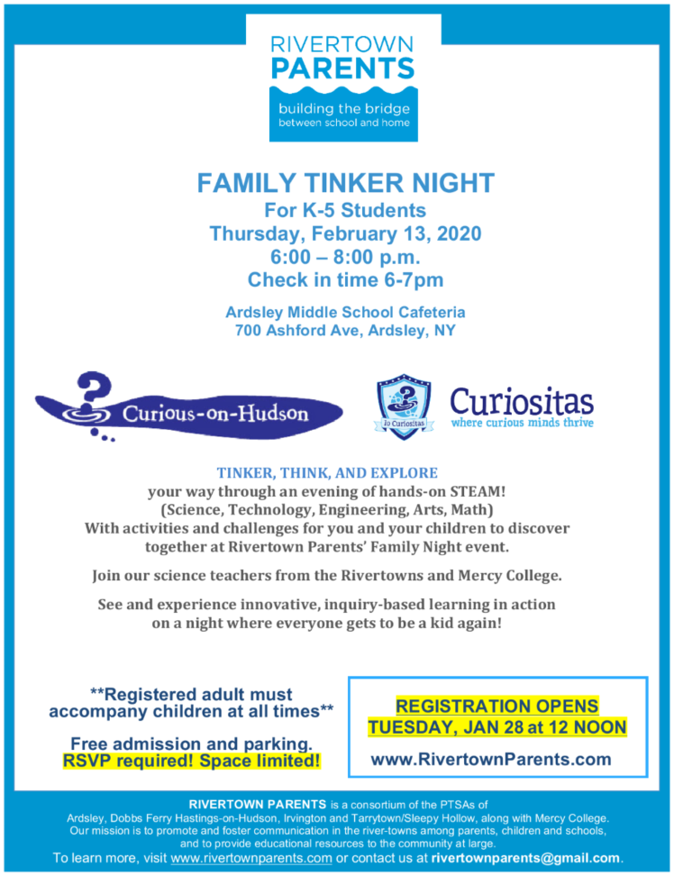 Rivertown Parents Family Tinker Night 2020